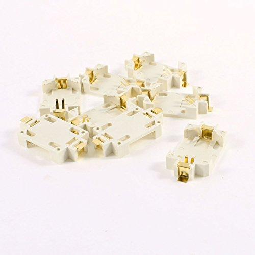 8 Stück Off White Plastic CR2032 Knopfzelle Lithium-Batterien Sockel-Halter