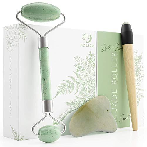 Jolizz Jade Roller Set - 3 in 1 Set mit Gua Sha & Bonus unter der Augenrolle - Entspannendes und schlankes Gesichtsmassagegerät | 100% echter natürlicher Jade Stein | Anti-Aging Hautpflege Set