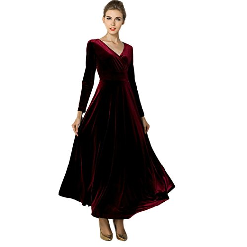 Kleid damen Kolylong® 2017 Frauen Elegant Samt Lang Kleid mit V-Ausschnitt Herbst Winter Elegant Langarm Kleid Cocktails Party kleid Abendkleid Plus Size Kleid S-XXXL (XXXL, Wein)