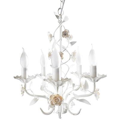 """Kronleuchter """"Rose"""", 5 x E14/max. 40W, 40 cm Ø, Weiß von PureDay bei Lampenhans.de"""