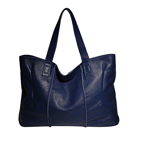 Womens Weiches Leder Mehrere Taschen Mittlerer Größe Lange Riemen Schultertasche Top-Griff Taschen,Blue-OneSize -