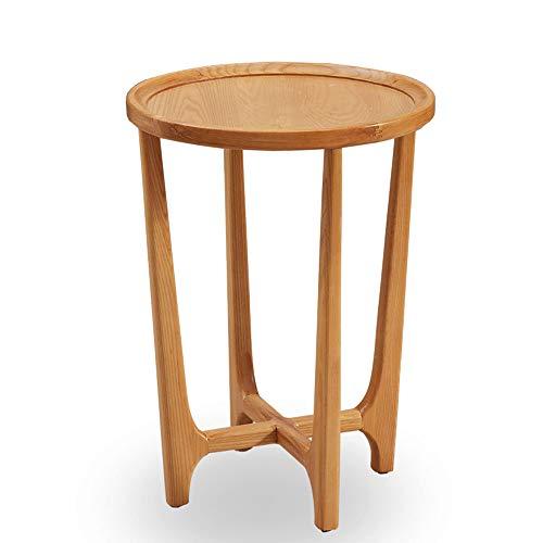 XBBZ Massivholz Log Beistelltisch, Sofa Kleine Wohnung Freizeit Runde Kleine Couchtisch Telefon Tisch Blume Stand