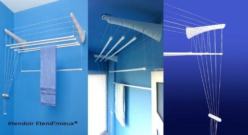 étendoir à linge suspendu ETEND'MIEUX® à fixer au mur, 5 barres (largeur 47cm) x 1m80, capacité d'étendage 9m