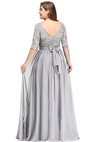 Misshow Damen Übergröße Abendkleid Spitze Chiffon mit Ärmel Elegant Lang Ballkleid , Silber, 48