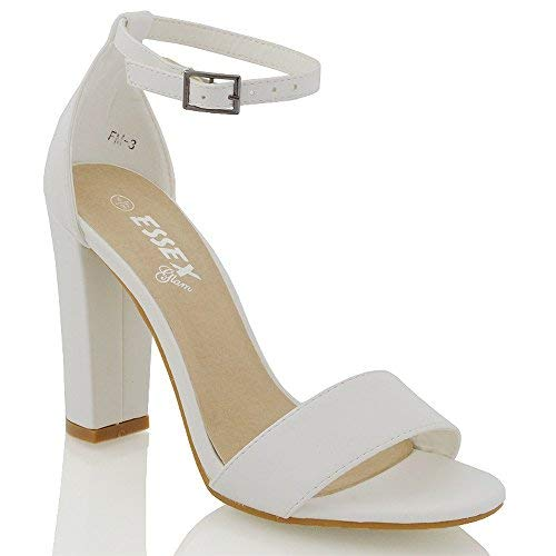c32d28a90ef08 ESSEX GLAM Mujer Tacón EN Bloque Sandalias Tira EN Tobillo Mujer Peep Toe  Tiras Fiesta Zapatos