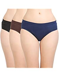BODYCARE Ladies 100% Cotton Panty (Set of 3 Style BC2D - Inner Elastic (Concealed Waistband) by AnA Products India