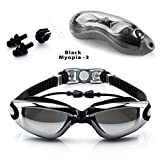 AREO Swim Silicone Anti-Fog Coated Swimming Eyewear Adult Prescription Optical Myopia Swimming Goggles,-3Power