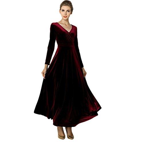 Kleid samt - kleid Frauen langarm V-Ausschnitt Kleid plus size winter Abendkleid knöchel maxi tuniken gelegenheits - roben kleider (XL, Wein) (Frauen Plus Size Kostüme)