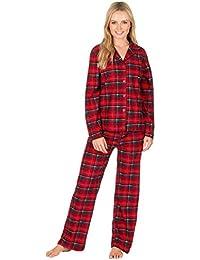 Ladies Check Print Long Sleeve Fleece Pyjamas Thermal Lounge Wear
