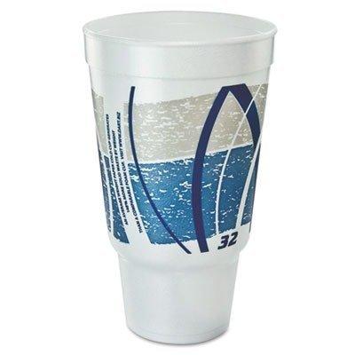 DCC32AJ20E Impulse Hot/Cold Foam Drinking Cup, 32oz, Flush Fill, Printed, Blue/Gray, 16/Bag by DCC32AJ20E -