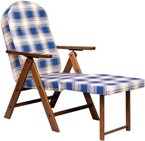 Poltrona sedia sdraio amalfi con prolunga (colore blu) legno regolabile 4 posizioni imbottito 105 cm soggiorno cucina salone divano 380090