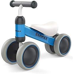 Bammax Bicicleta sin Pedales para Niños 1 Año de Edad Bicicleta Equilibrio Bebé Juguete Bebe Regalo de Cumpleaños Primera Bici sin Pedales Triciclos Bebes, Azul
