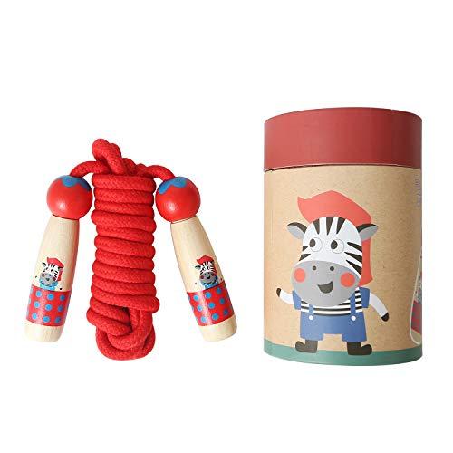 PUPOUSE Springseil für Kinder - Springseil Verstellbare mit Cartoon Holzgriff und Baumwollseil, ideal für Fitness Training abnehmen Fat Burning Übungen (Rot)