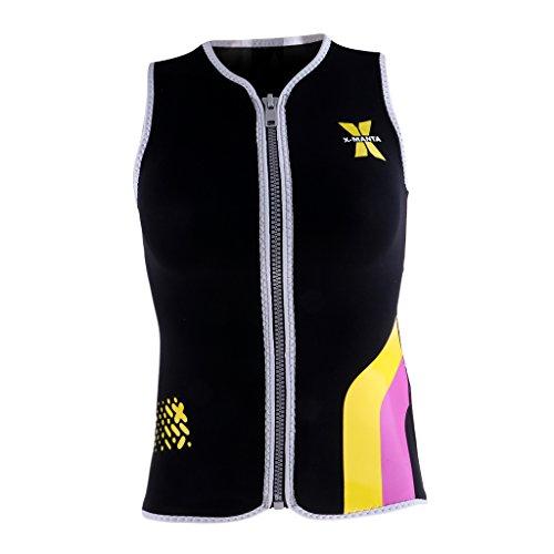 Unbekannt MagiDeal Damen 3mm Neoprenanzug Weste T-Shirt UV-Badeshirt Schnelltrocknend Tauchweste Surfanzug Schwimmshirt - Schwarz, L