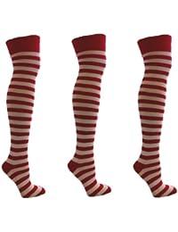 3 paires rouges et blanc Stripey-dessus du genou Chaussettes EUR 35-41