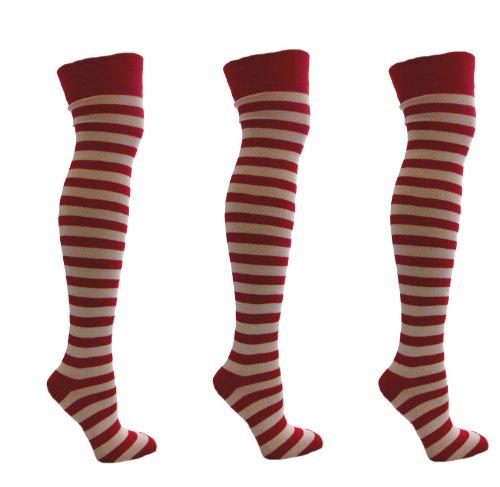 Aler 3 Paar Red & White Stripey über den Knie-Socken Größe 35-41 07.04 EUR