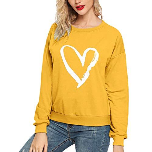 Xmiral Sweatshirts Damen Buchstabe Drucken Rundhals Lässiges Pullover Bluse Tops mit Niedlich Verbindung Hemden Sportbekleidung(a Gelb,S)