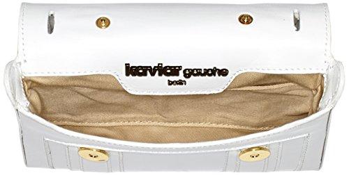 kaviar gauche Damen Mini Satchel Bag Loopnet Umhängetaschen, 18x12x3 cm Weiß (White/Gold)