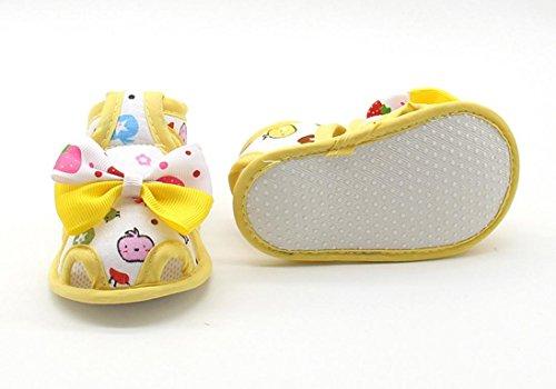 Bonjouree Sandales Bébé Fille Chaussures Souples Anti-dérapantes Pour Nouveau-Nés Jaune