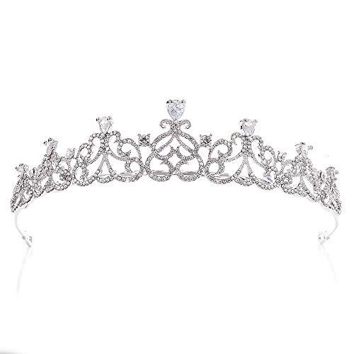 RXHCO Krone Tiara Damen Strass Kristall Braut Romantik Liebe Herz Krone Haarband Klar Silber-Ton Für Halloween Thanksgiving Für spezielle Soiree (Color : Silver, Size : 15 * 3.5cm)