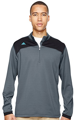 adidas Golf Mens ClimawarmTM+ Half-Zip Pullover (A201) -Lead/Black -2XL - Athletic Pullover Golf