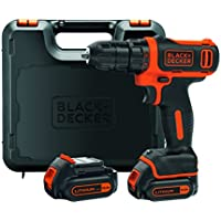 BLACK+DECKER BDCDD12KB-QW Perceuse visseuse sans fil - 12V max (= tension nominale de 10,8V) - 26 Nm - Lithium-ion - 2 batteries 1,5 Ah- Chargeur inclus - Livrée en coffret