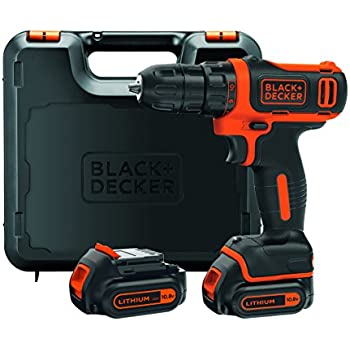 BLACK+DECKER BDCDD12KB-QW Trapano Avvitatore Compatto, Doppia Batteria, Ioni di Litio, Valigetta, Nero/Arancione