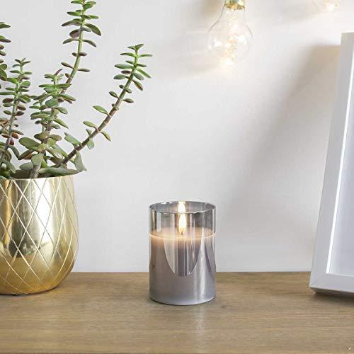 Festive Lights Echtwachs LED Kerze mit 3D-Echtflammen-Effekt - Weltneuheit 2019 - unglaublich echte Flamme mit brennenden Dochteffekt, batteriebetrieben - EXKLUSIV (Grau im getönten Glas, 10cm S)