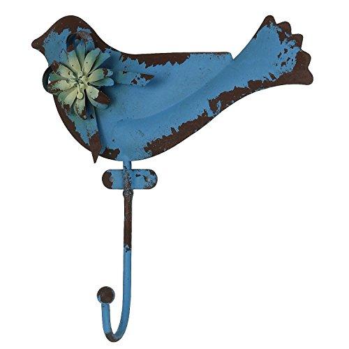"""MACOSA HOME Wand-Haken """"Vogel"""" Vintage Retro Antik-Blau rostig Garderobenhaken Kleiderhaken Handtuchhaken Deko-Haken für Innen und Außen im Garten"""