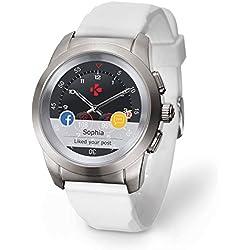 MyKronoz ZeTime Original Reloj Inteligente híbrido 44mm con Agujas mecánicas sobre una Pantalla a Color táctil - Regular Cepillado Plateado/Silicona Blanca