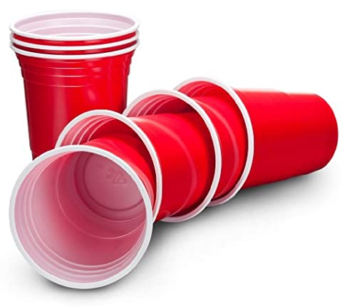 VonShef Ruby Apple Red American Plastic Disposable Party Cups Pack of 50, 16oz (455ml)