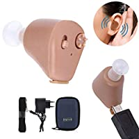 Adjustable In Ear Hearing Aid Aids Best Sound Voice Amplifier (Brown)