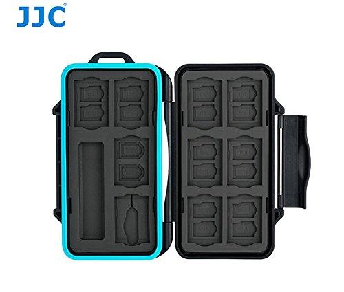 JJC MCR-STS30 Rugged Waterproof Memory Card Case with USB 3.0 SD, Micro SD Card Reader fits SD x 10, TF x 16, Micro SIM x 2, Nano SIM x 2