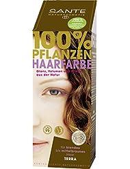 SANTE Naturkosmetik Pflanzen-Haarfarbe Pulver Terra - Braun, Hennapulver, Deckendes Braun, Glänzende Farben, Grauabdeckung, Vegan, 100g