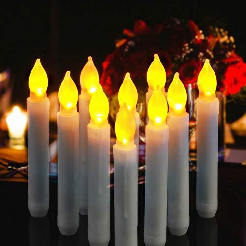 ose Spitzkerzen flackernd lange Kerze mit Timer für Hochzeit Urlaub Decke Kirchen Jahrestag Weihnachten batteriebetrieben Warm Yellow for Halloween ()