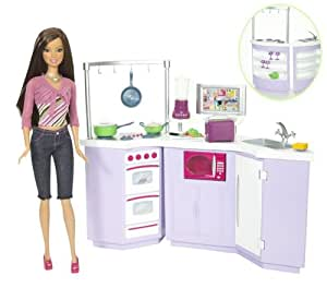 mattel l9484 poup e barbie cuisine poupee jeux et jouets. Black Bedroom Furniture Sets. Home Design Ideas