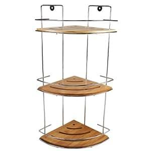 rondale badregal eckregal badezimmer bambus ecke verchromt holz braun k che haushalt. Black Bedroom Furniture Sets. Home Design Ideas