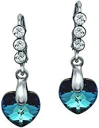 Mahi Blue and White Brass Rhodium Plated Dangler Earrings for Women