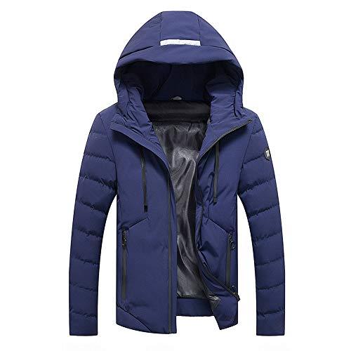 TWBB Männer Hoodie Winter Warm Daunenjacke Mit Kapuze Reißverschluss Dicker Einfarbig Vlies Mantel Baumwolle gepolstert Jacke