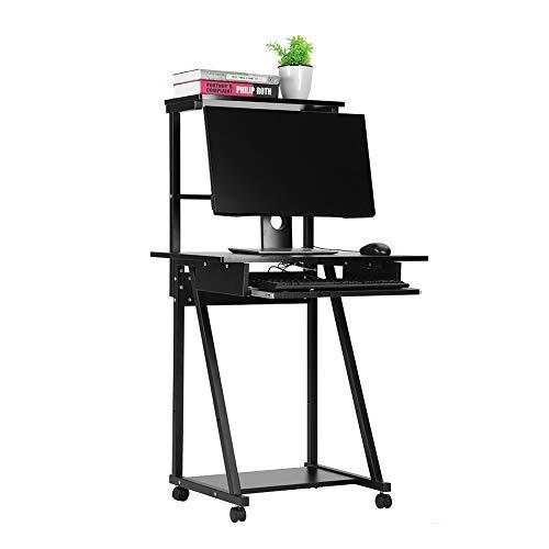 Gototop tavolo per computer, scrivania per computer scrivania ufficio, facile da montare porta pc tavolo con ripiani tastiera scorrevole 4 ruote con freno per casa ufficio studio, nero