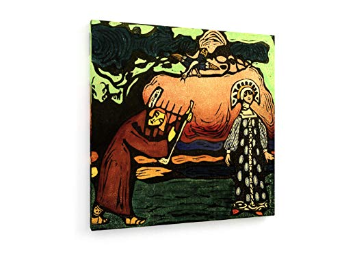 Wassily Kandinsky - Der Dulcimer-Spieler - 80x80 cm - Textil-Leinwandbild auf Keilrahmen - Wand-Bild - Kunst, Gemälde, Foto, Bild auf Leinwand - Alte Meister/Museum (Kostüm Der Russischen Folklore)