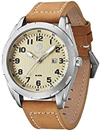 Timberland Men's Quartz Watch with Beige Dial Analogue Display and Brown Leather Strap 13330XSUS/07