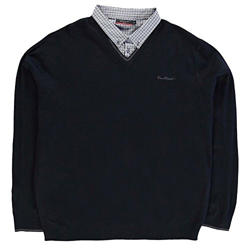 Mens Knitwear Mock V Neck Jumper (5XL, Black_B)