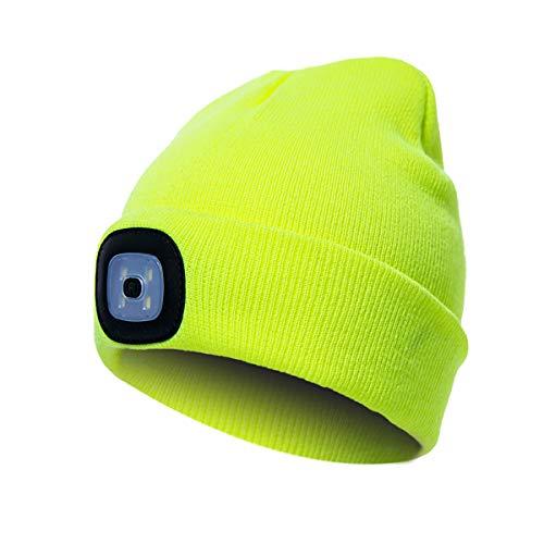 Amorar LED-Licht Hut Strickmütze Männer Frauen Winter Warme Mütze Bright Light Glowing Light Up Beanie Cap Sport im Freien Angeln Camping Radfahren Hut Batteriebetrieb Abnehmbar,EINWEG Verpackung