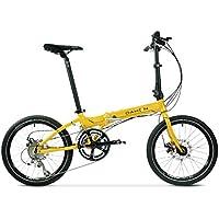 Monociclos Bicicleta Plegable Bicicleta de 20 Pulgadas de Velocidad Variable de aleación de Aluminio Unisex Freno de Disco Ultra Ligero Bicicleta (Color : Yellow, Size : 150 * 30 * 108cm)