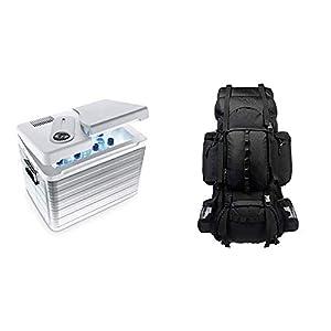 Mobicool Q40 AC/DC - tragbare Thermo-elektrische Alu-Kühlbox, 39 Liter, 12 V und 230 V für Auto, LKW und Steckdose, Aluminium-Gehäuse & AmazonBasics - Wanderrucksack mit Innengestell und Regenschutz