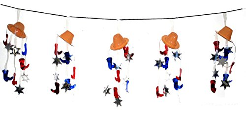 Zauberparty - Party Dekoration Cowboyhut Wilder Westen Steifel Wimpelkette Comic Geburtstag, 365cm, (Bardame Outfit)