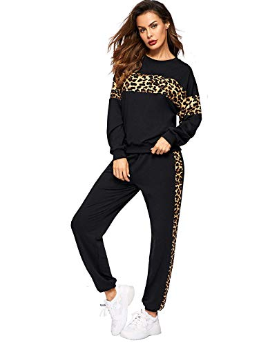 Shocknshop Black Tape Leopard Panel Pullover Tee and Sweatpants Leggings Tracksuit Set for Womens (LEG75)