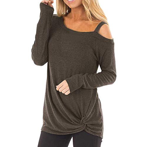 Off White-spender (PinkLu 2020 Schulterfrei Sexy Oberteil Damen Tshirt Sweatshirt für Damen Langarmshirt Off Shoulder Einfarbig Langarm Herbst Twisted Tops Bluse Tunika Sweatershirts)