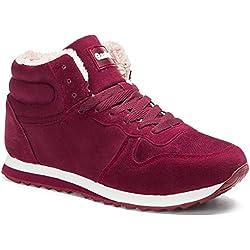 Gaatpot Zapatos Invierno Botas Forradas de Nieve Zapatillas Sneaker Botines Planas para Hombres Mujer Rojo EU 35.5 = CN 36